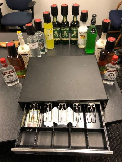 Alcohol and cash register