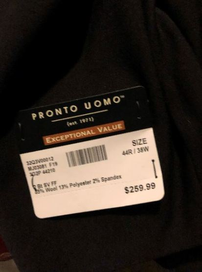 Price tag on merchandise